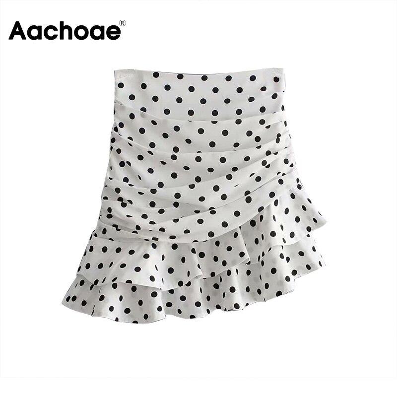 Aachoae Women Polka Dot Asymmetrical Ruffles Mini Skirt 2020 Summer Holiday Bohemian A-line Pleated Skirt Ladies Casual Skirts