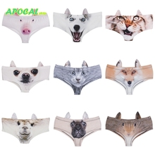APOCAL Womens Cat Panties 3D Animal Print Cute Female Underwear Women Sexy Funny Briefs with Dog Pig Ears ear Fox Wolf Printing