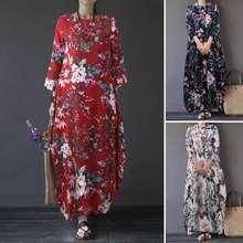 Robe Maxi-Dress Long-Sleeve O-Neck Vestidos Printed Floral Plus-Size Fashion Casual Women's
