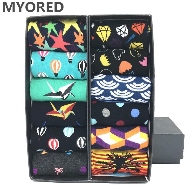 MYORED 12 pairs/ lot Classic Colorful For Men's combed cotton socks Fruit geometric animal print Casual dress Funny Socks NO BOX