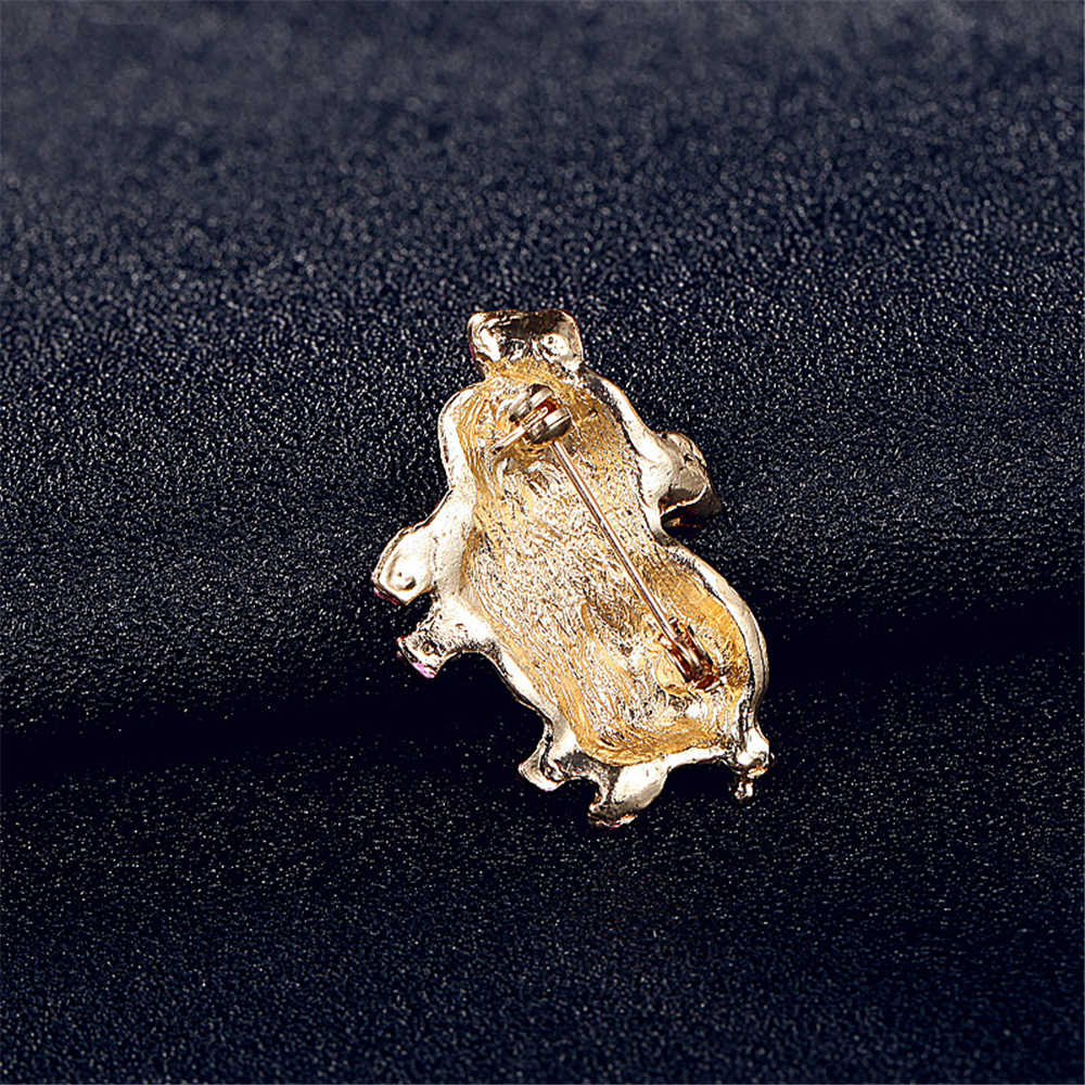 Jinleansuピンク豚ラインストーン女性の女の子動物スカーフピンブローチ