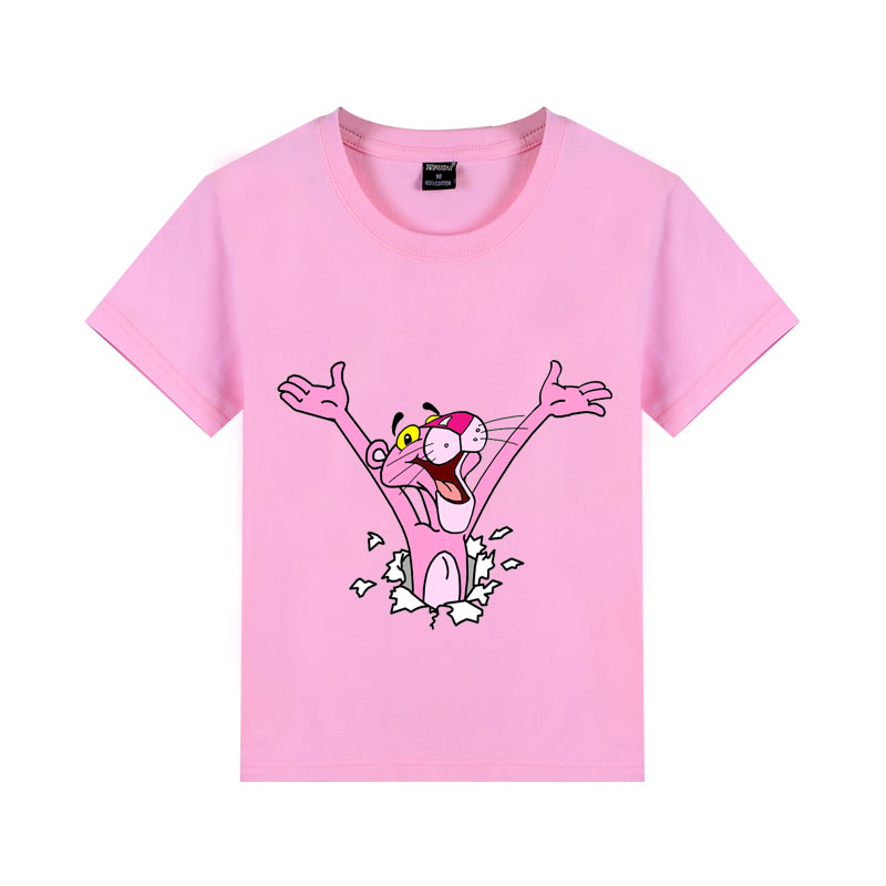 colorful pink panther pure cotton child short t <font><b>shirt</b></font> for boys and girls summer t <font><b>shirt</b></font> <font><b>2</b></font> 4 6 8 10 12 T image