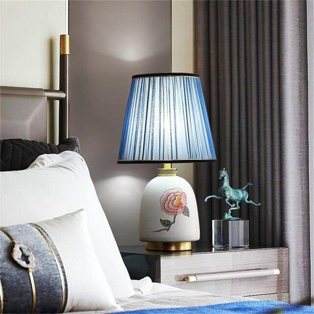 Фото латунные настольные лампы oufula керамический настольный светильник