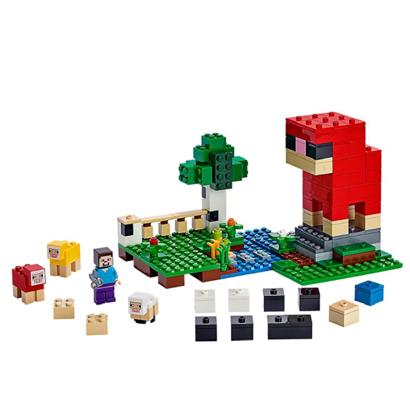 The Wool Farm Building Blocks With Steve Action Figures Compatible LegoINGlys MinecraftINGlys Sets Toys 21153