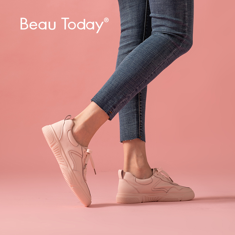 BeauToday Women Sneakers Genuine Cow Leather Round Toe Lace-Up Closure Ladies Casual Flats Shoes Handmade 29039