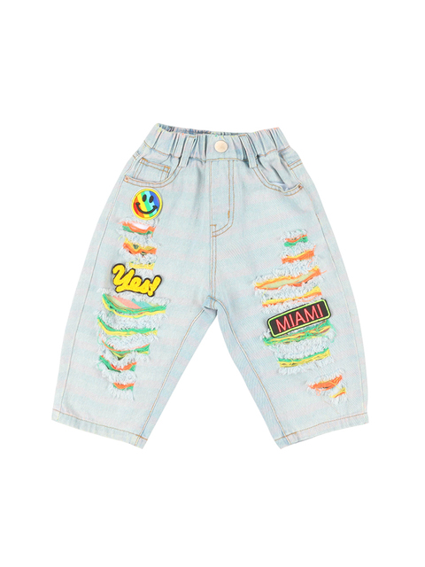 Children Ripped Denim Capri Pants Tide Boys qi gai ku Western Style Children Baby Summer Thin Trousers Kids Male 5