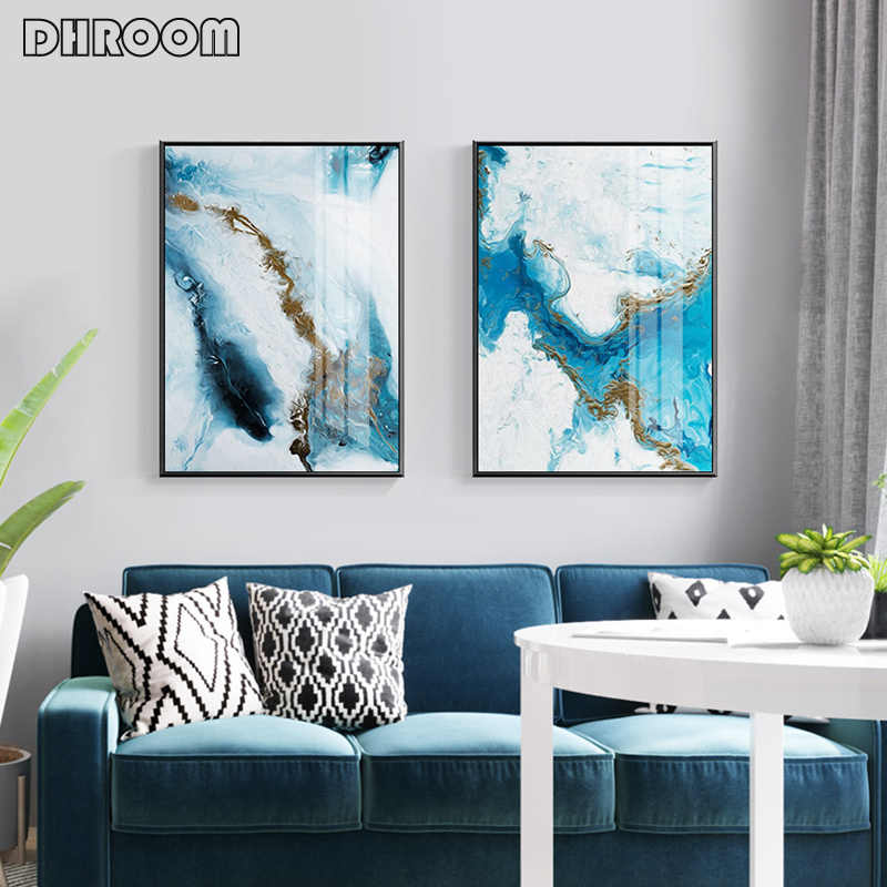 Nordic Abstract Wall Art Blue Golden Canvas Painting Poster and Print Modern Style Decoration Pictures for Living Room Bedroom