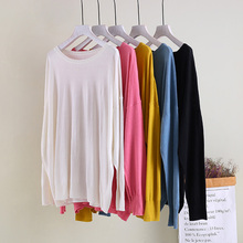 Autumn Thin Solid Women Sweater Long Sleeved Round Neck Pullover Female 5 Colors Fall Knit Christmas Sweaters For Woman