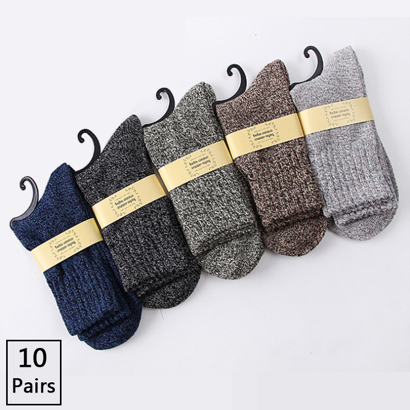 10 Pairs/lot Men's Wool Socks Casual Calcetines Hombre Thick Long Socks Winter Warm Socks Male High Quality