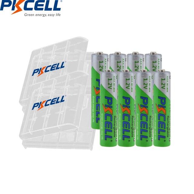 8Pcs Pkcell Nimh Aaa 1.2V Nimh Oplaadbare Batterij 850Mah Aaa Precharged Batterijen Meer dan 1200 Keer Cycli En 2Pcs Hold Dozen