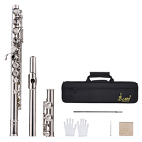 16 Holes C Key Flute Cupronickel Silver Plated Concert Flute with Cleaning Cloth Stick Gloves Screwdriver Padded Bag