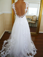 Sexy V-Neck Cap Sleeves Lace Appliques Floor Length Backless Wedding Dress A-line Skirt With Waist Evening Dresses