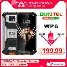 OUKITEL WP6 10000MAh 6.3 FHD + IP68กันน้ำโทรศัพท์มือถือ6GB 128GB Octa Core 48MP Tripleกล้องสมาร์ทโฟนที่ทนทาน