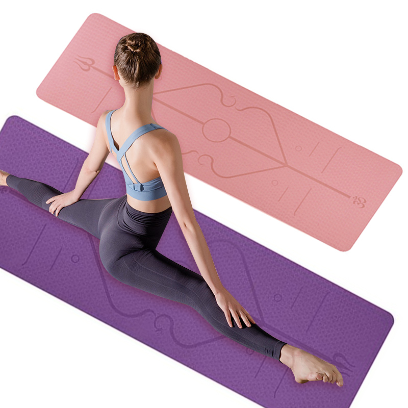 Yoga Mat 1830x610x6mm TPE Yoga Mat With Position Line Non Slip Mat For Beginners Double Color Fitness Gym Mats