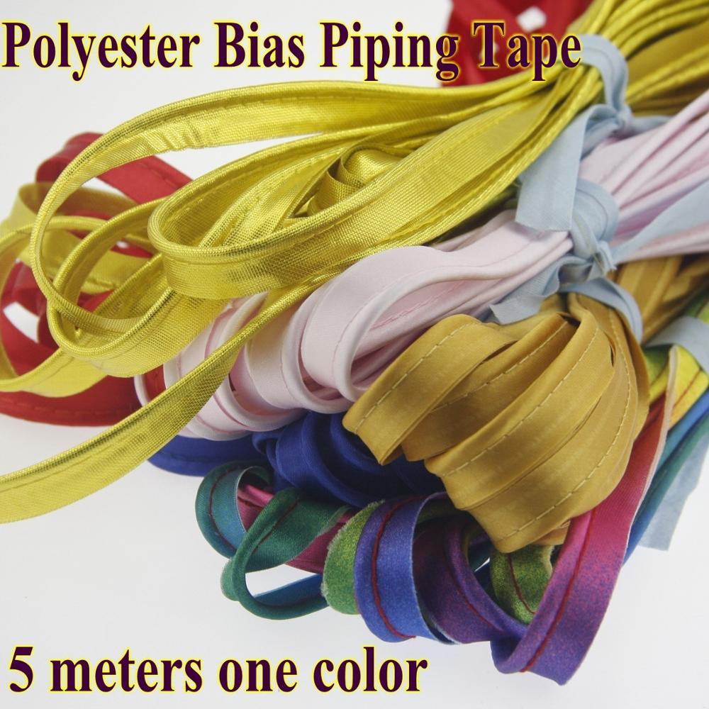 Полиэфирная атласная смещенная Трубная лента с диаметром шнура 3 мм, небольшие упаковки 5 метров, материал для шитья «сделай сам» ручной раб...