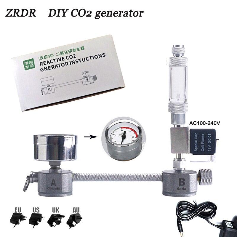 Acquario generatore di CO2 fai da te, con elettrovalvola contatore di bolle diffusore kit di sistema di reazione per la crescita di piante acquatiche CO2 equipment menr|CO2 Equipment| - AliExpress