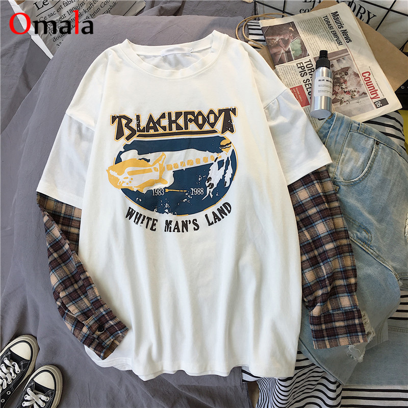 Korean Simple oversized graphic tees Women shirts fashion Long Sleeve tshirt Leisure Plaid patchwork t shirt white black tops 3