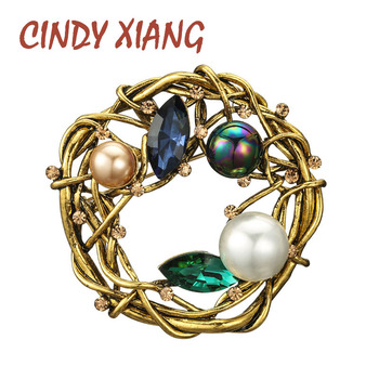 CINDY XIANG Vintage Black Pearl Round Brooch For Women Fashion Elegant Pin Winter Coat Accessories High Quality real natural pearl brooch for women pearl brooch fashion jewelry classic charm high quality accessories pin