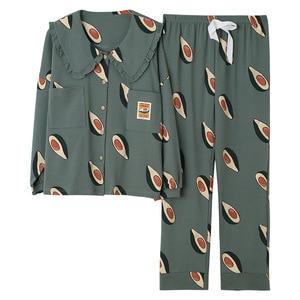 Image 1 - 2019 inverno pijamas feminino coreano 2 pçs pijamas conjunto de pijama femme manga longa algodão kawaii plus size pijamas mujer sleep lounge