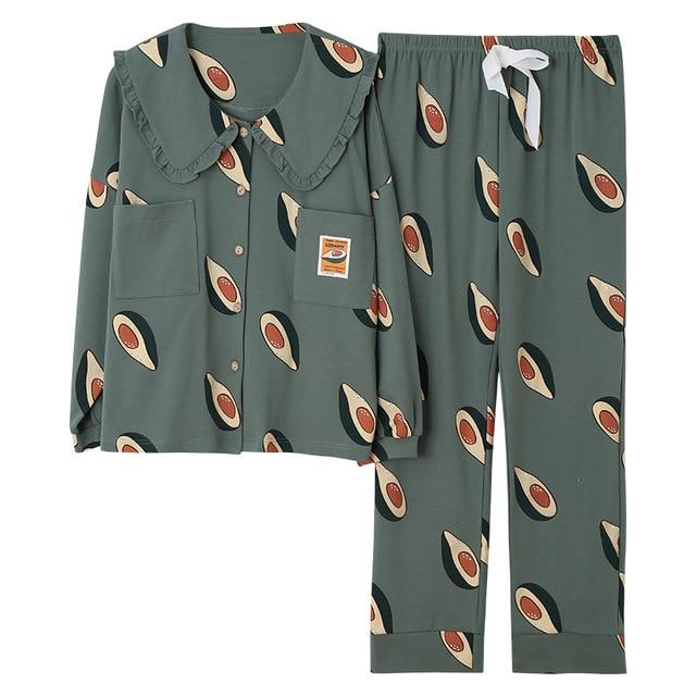 2019 inverno pijamas feminino coreano 2 pçs pijamas conjunto de pijama femme manga longa algodão kawaii plus size pijamas mujer sleep lounge