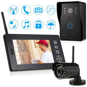 "Wireless Video Intercom Doorbell 7"" TFT Touch Key Color Video Door Phone IR Night Version CCTV Camera Security System Kit