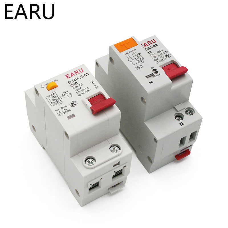 DZ30L DZ40LE EPNL DPNL 230V 1P+N Residual Current Circuit Breaker With Over And Short Current  Leakage Protection RCBO MCB 6-63A