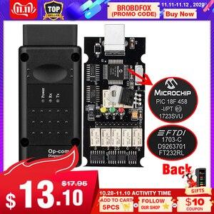 Image 1 - Op com V1.65 V1.78 V1.99 PIC18F458 FTDI op com OBD2 자동 진단 도구 Opel OPCOM CAN 버스 V1.7 플래시 업데이트 가능