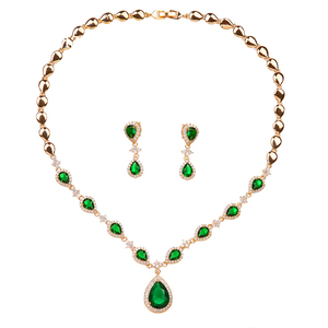 Image 5 - Emmaya New Arrival Rose Gold Green Waterdrop Appearance Zirconia Charming Costume Accessories Earrings And Necklace Jewelry Sets