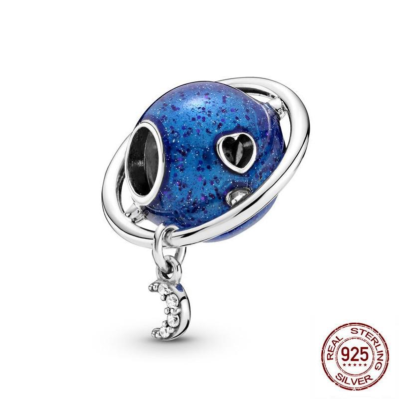 Paylor реальные 925 пробы серебряные подвески Planet с изображением Луны и звезд, с кисточками, бусины, соответственные Европейской Пандоре обаяте...
