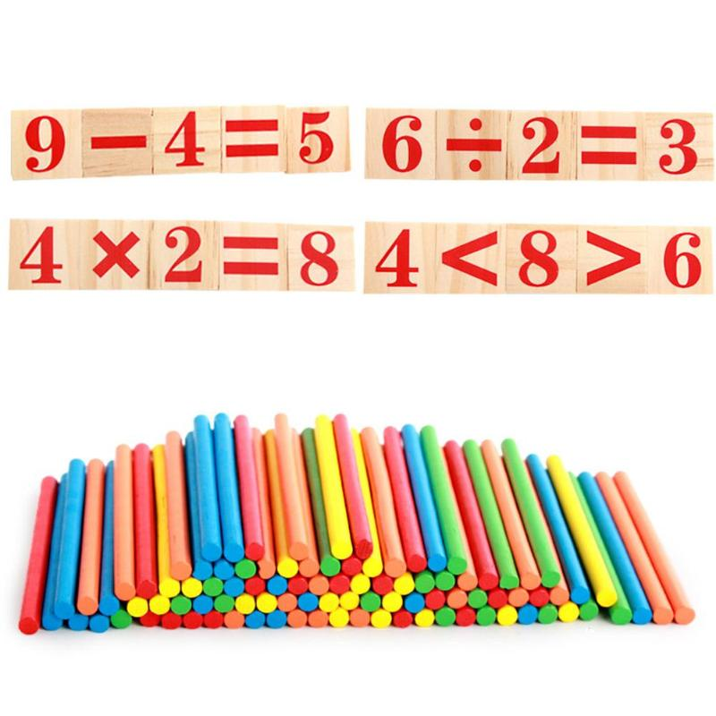 Wooden Preschool Early Learning Puzzle Toys For Children Mathematics Game Stick Math Numbers Counting Rods Educational Supplies