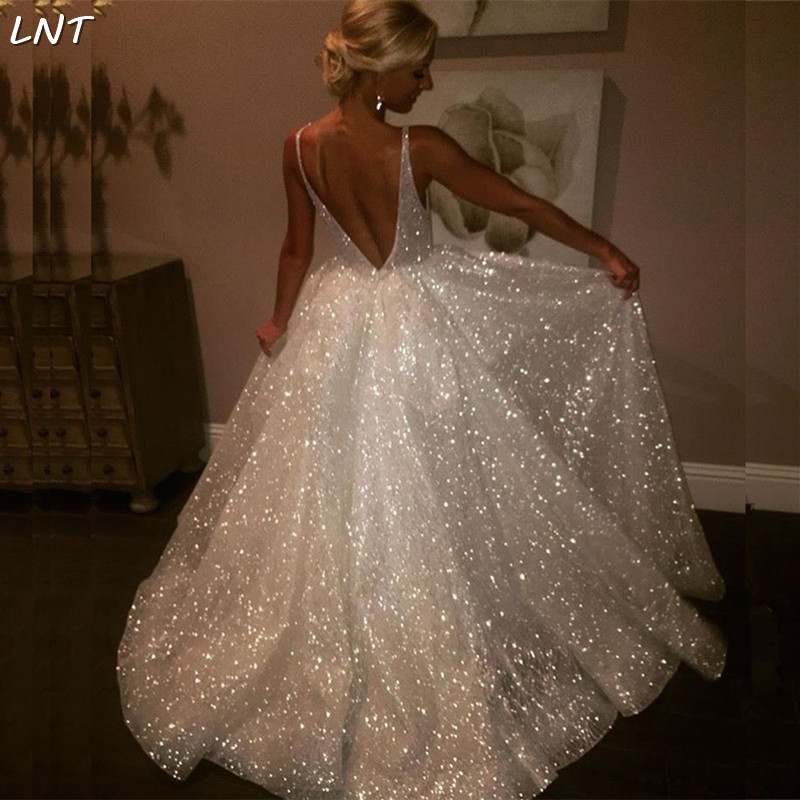 V Neck Sparkle Glitter Wedding Dresses V Back Bridal Dresses Bride Custom Gown