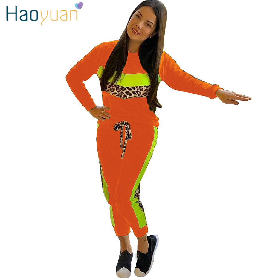 HAOYUAN Neon Leopard Splice 2 Piece Set Women Tracksuit Full Sleeve Top Jogger Pant Sweat Suit Matching Sets Two Piece Outfits