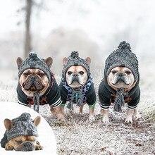 SUPERPET kış sıcak köpek şapka rüzgar geçirmez örgü fransız Bulldog şapka köpekler Chihuahua şapka kabarık top yavru aksesuarları hayvan şapka