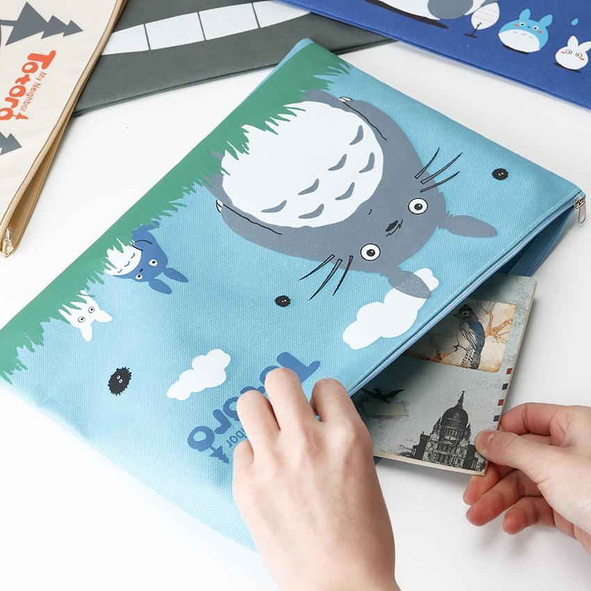 1PC Casual Briefcase Business Bag Oxford A4 Big Capacity Cartoon Totoro Cat Series Canvas File Storage Bag Briefcases