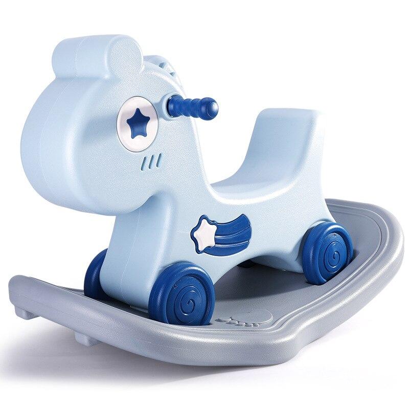Doki Toy Infant Shining 2-in-1 Rocking Horse 1-6 Years Old Dual Purpose Rocking Horse Toy Indoor Rideable Anti-slip Toys 2021