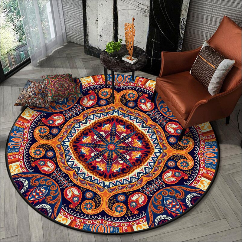 Morroco Style Round Carpet Ethnic Geometric Non-Slip Floor Mat Retro Living Room Decor Area Rugs Bedroom Kitchen Bathroom Tapete