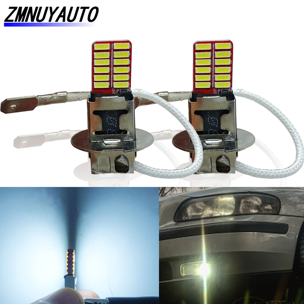 2PCS H1 H3 Led Bulbs Super Bright White 24 4014SMD Led Car Front Fog Light Auto Driving Day Running Lamp 12V