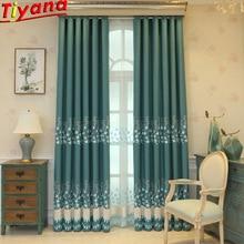 Роскошные зеленые шторы с вышивкой, ткань для спальни, затемненная вуаль, тюль для гостиной, рельефная затеняющая 75%, занавески WP233#40