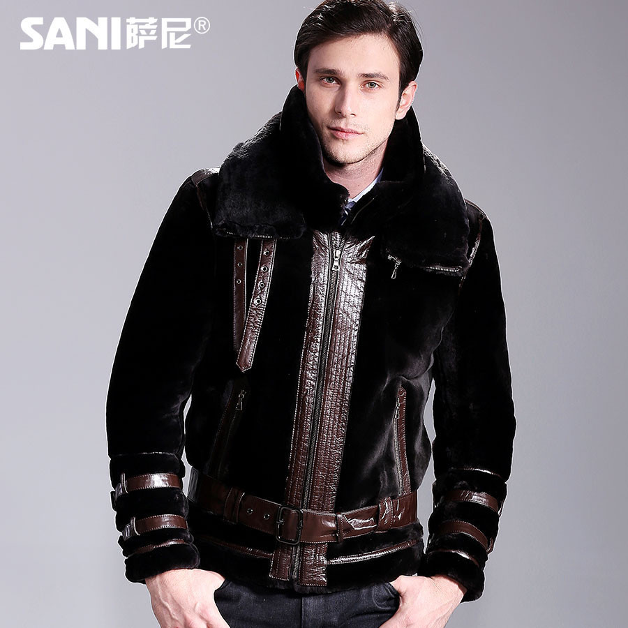 Free Shipping Men's Winter Fashion Warm Sheepskin Genuine Leather And Sheep Fur Outerwear