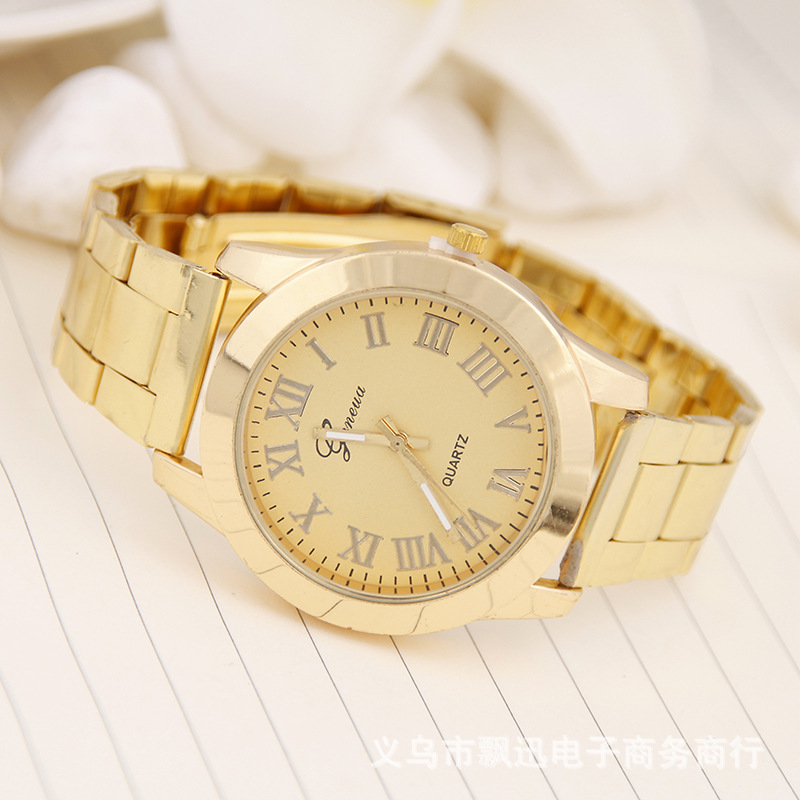 Foreign Trade Hot Selling Geneva Steel Belt Gold Watch Roman Numerals Alloy Unisex Quartz Steel Watch Currently Available Wholes