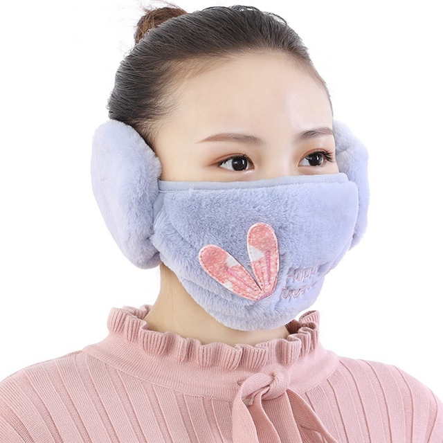 2 In 1 Rabbit Ear Earmuffs Kids Mouth Mask Windproof Mouth-Muffle Anti Dust Winter Children Anti Haze Flu Cotton Face Cover