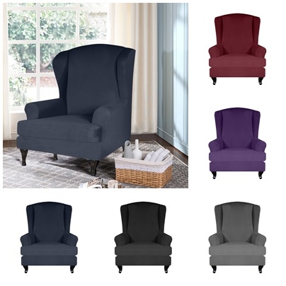 2 adet/takım kanat sandalye kılıfı her şey dahil sandalye koruyucu elastik sandalye Slipcover düğün otel ziyafet için ev kanepe sandalye kılıfı s