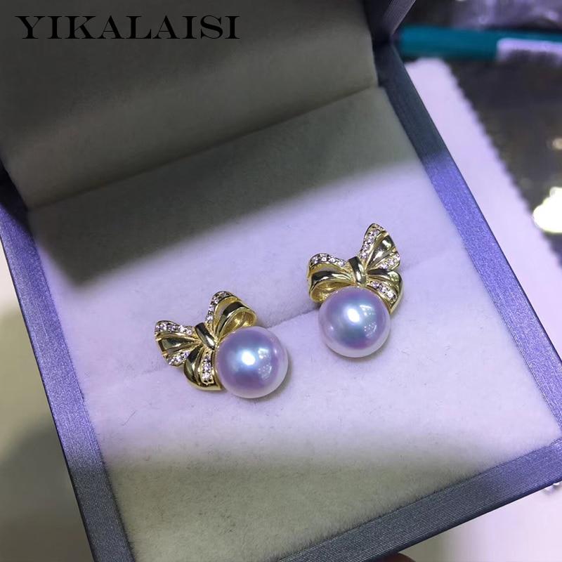 YIKALAISI, 925 пробы, серебряные ювелирные изделия, жемчужные серьги, 2019, ювелирные изделия из натурального жемчуга, 8 9 мм, серьги гвоздики для женщ