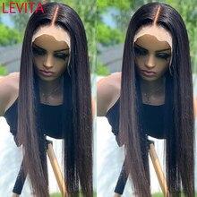 LEVITA – perruque lace frontal wig brésilienne naturelle, cheveux lisses, 4x4, 13x4x1, pour femmes