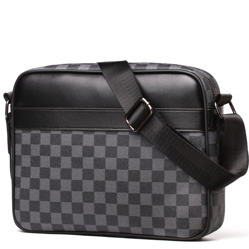 HORIZONPLUS FAMOUS BRAND LUXURY CHECK GRID PLAID PATTERN  MEN CROSSBODY  MESSENGER SLING SHOULDER BAG