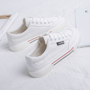 Image 1 - SWYIVY White Shoes Woman Platform Sneakers Canvas Shoes 2020 Spring New Female Causal Shoes Black Sneakers On Platform Heel