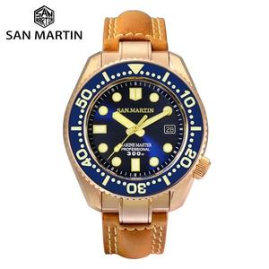 Image 1 - סן מרטין ברונזה צלילה שעון עסקי קלאסיקות אוטומטי גברים מכאני שעונים עור 300m מים עמיד זוהר Relojes