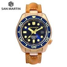 San Martin bronz dalış izle İş klasikleri otomatik erkek mekanik saatler deri 300m su geçirmez ışık Relojes