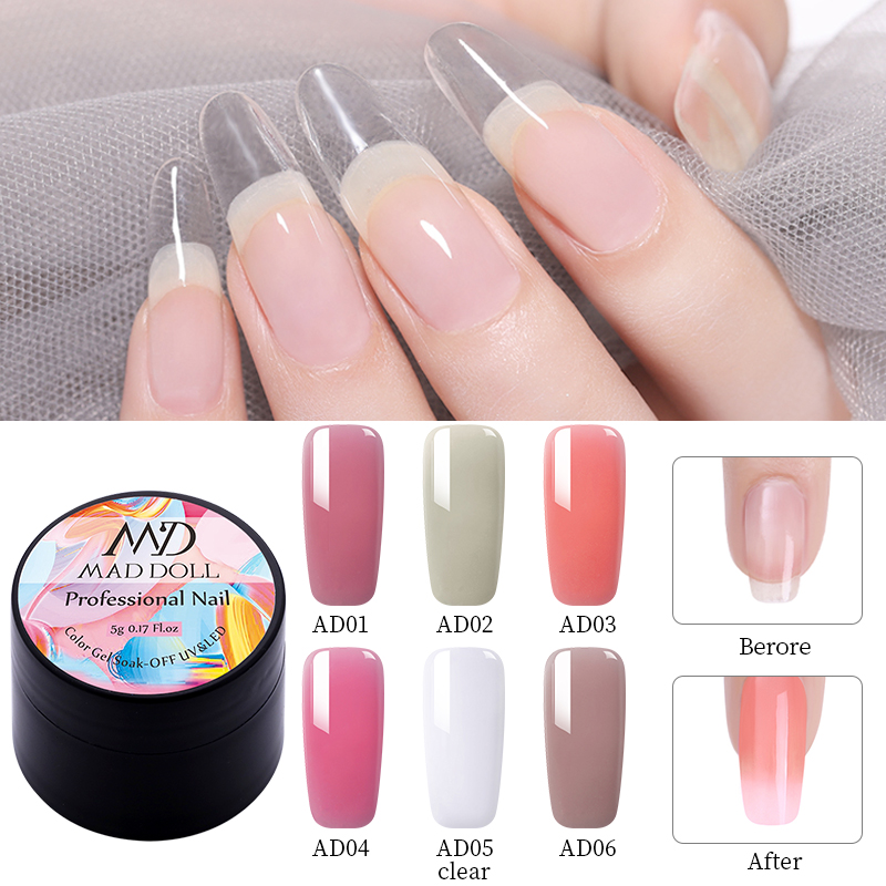 MAD DOLL Nail Extension Gel Semi-transparent Pink UV Building Gel Nail Finger Nail  Extension  6 Colors