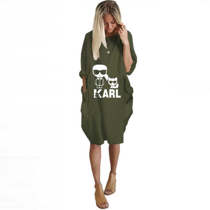 Pocket Tee T-Shirt Women Clothes Printed Karl Lagerfeld Autumn Off-Shoulder Plus-Size